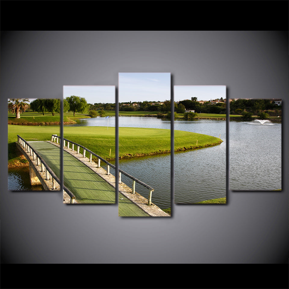 Golf Course With Bridge Landscape Five Piece Canvas