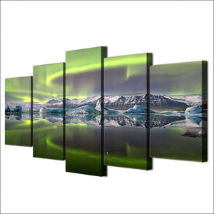 Northern Lights Above Mountains Five Piece Canvas