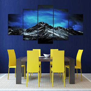 Cold Blue Sky Over Mountain Five Piece Canvas