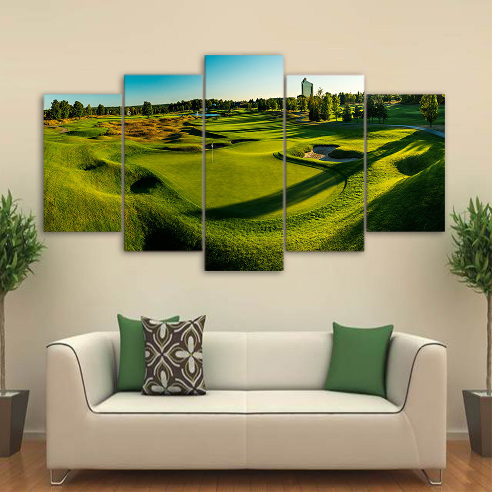 Hilly Golf Course & Green Five Piece Canvas