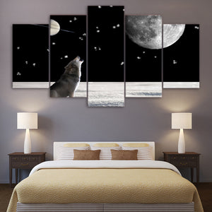 Wolf Howling At Moon Five Piece Canvas