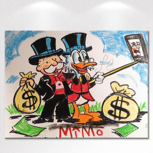 Graffiti Donald Duck Money Single Piece Canvas