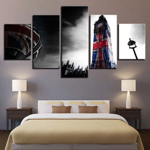 Great Britain National Flag On London Tower Five Piece Canvas