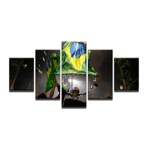 Brazil Flag Being Waved Five Piece Canvas