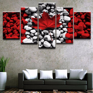 Canadian Flag Rock Art Five Piece Canvas