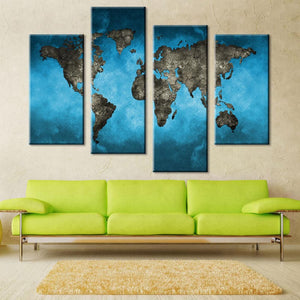 Earth Map Blue Background Four Piece Canvas