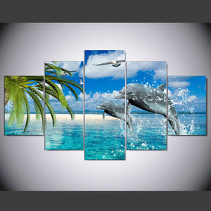 Jumping Dolphins Five Piece Canvas