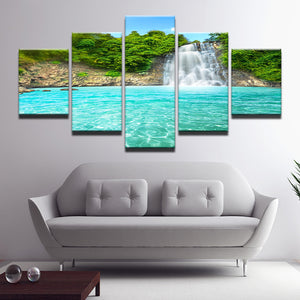 Tropical Waterfall Five Piece Canvas