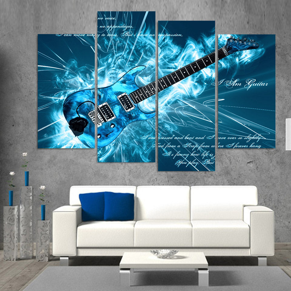 Cool Blue Electric Guitar Four Piece Canvas