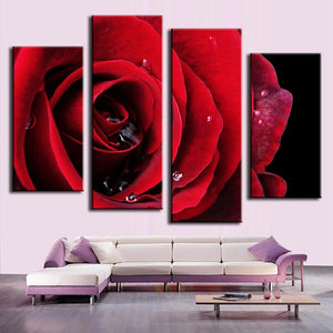 Bright Red Rose With Raindrops Four Piece Canvas