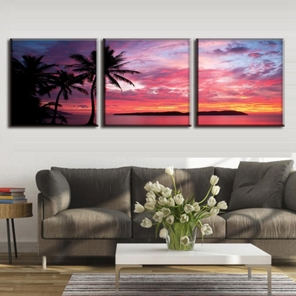 Red Sunset Tropical Coastline Three Piece Canvas