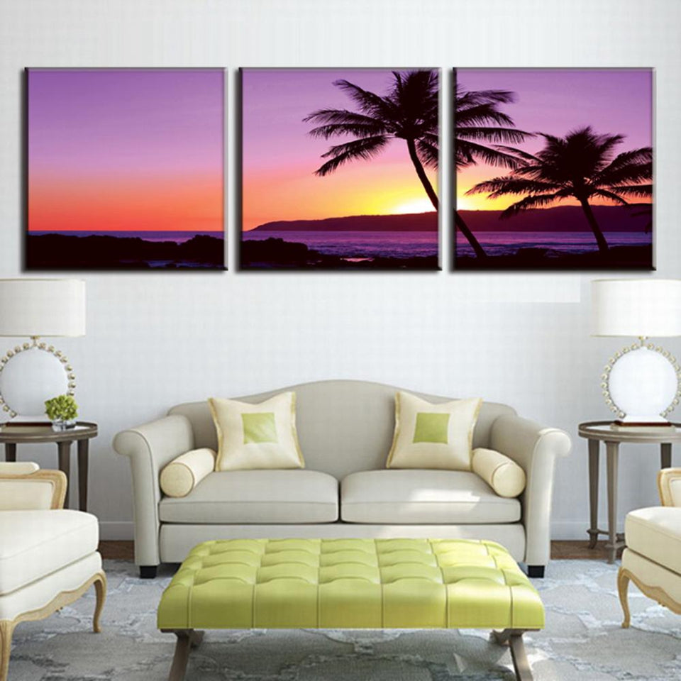 Purple Sunset Palm Trees Three Piece Canvas