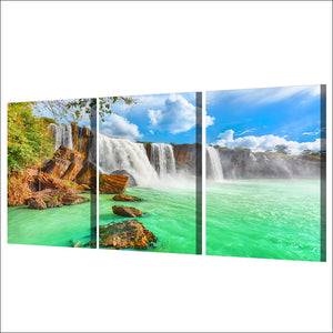Roaring Waterfall Green Lake Three Piece Canvas