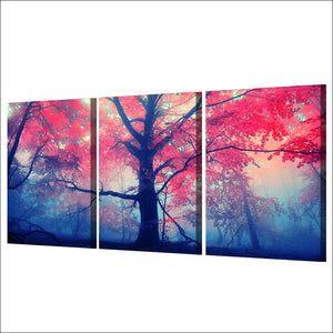 Maple Leaf Tree Landscape Three Piece Canvas