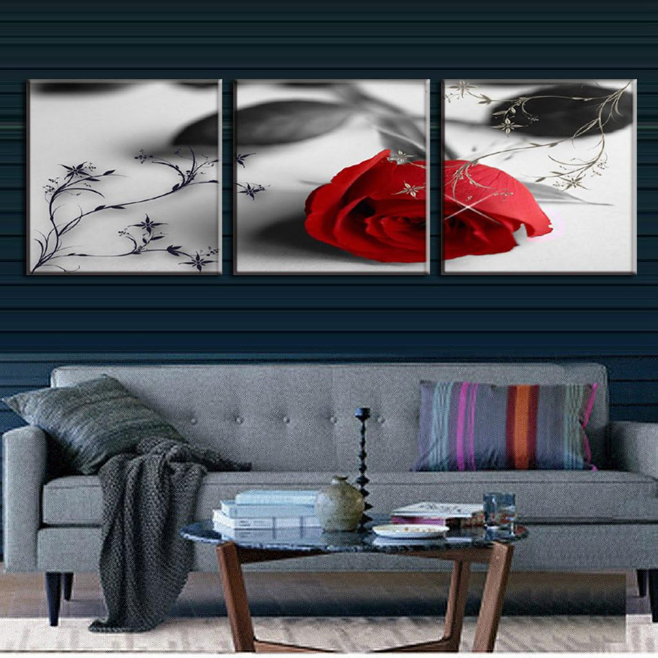 Red Rose Black & White Three Piece Canvas
