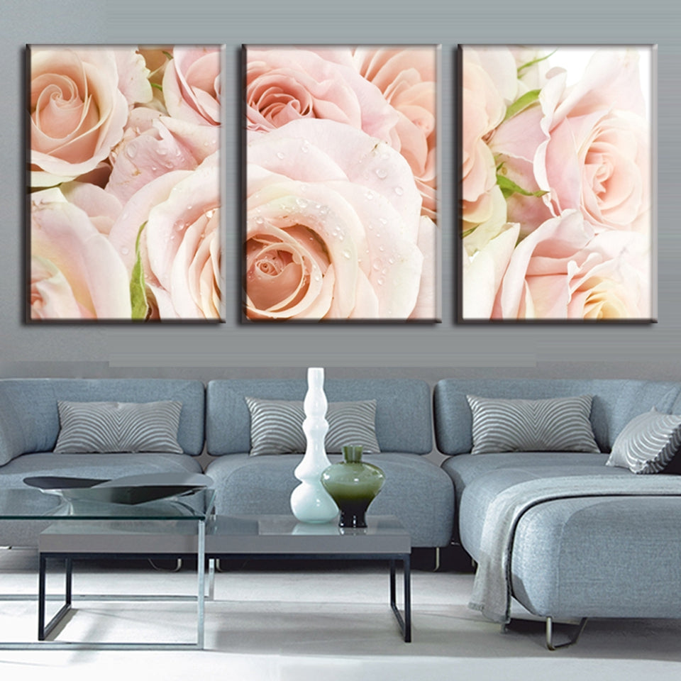 Light Pink Roses Three Piece Canvas