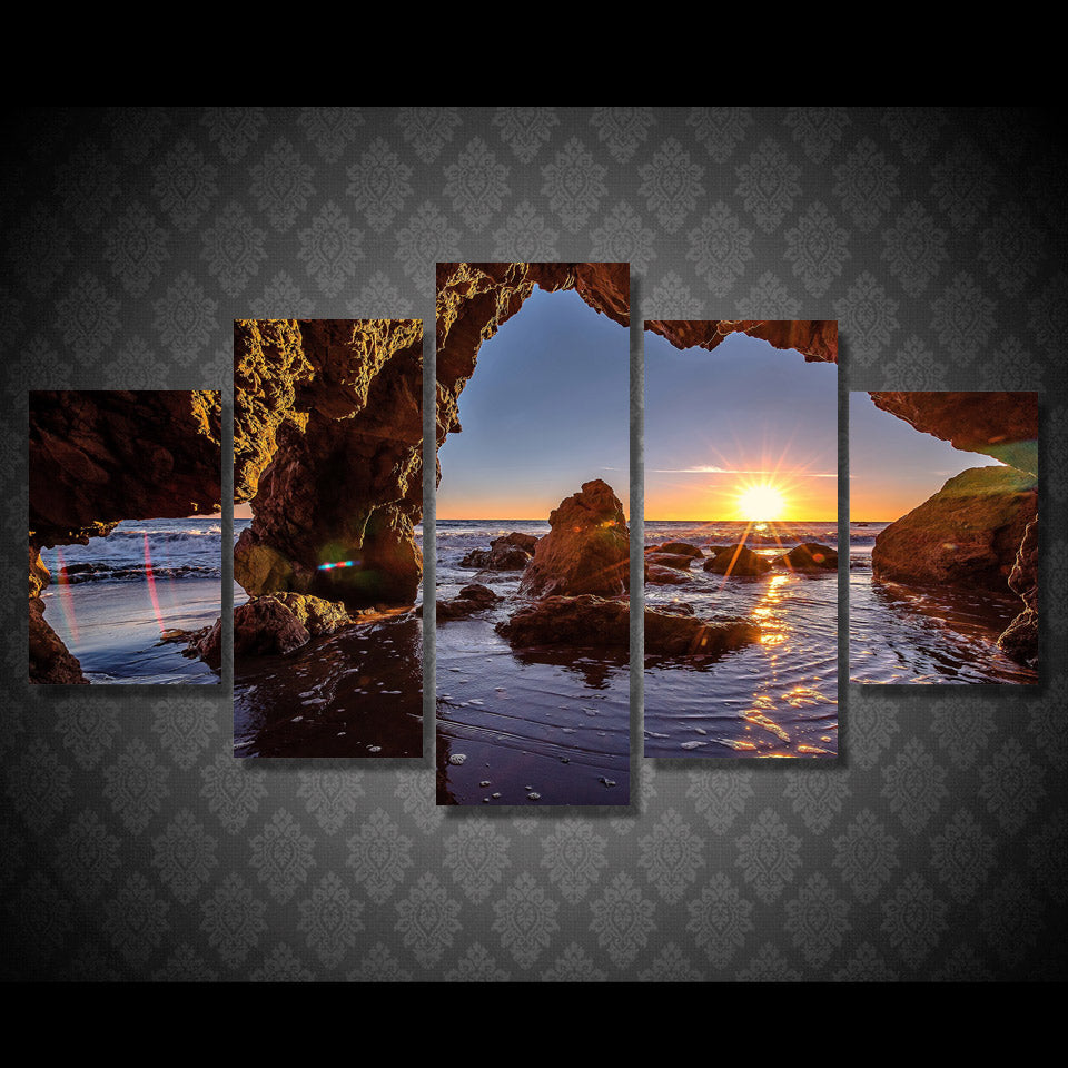 Ocean Cove Sunset Five Piece Canvas