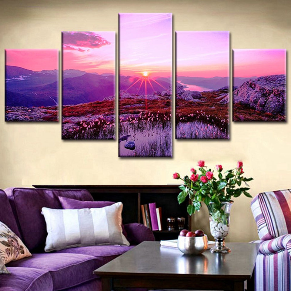 Red Sunrise Snow Mountain Flower Field Five Piece Canvas