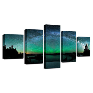Aurora Borealis Starry Sky Five Piece Canvas