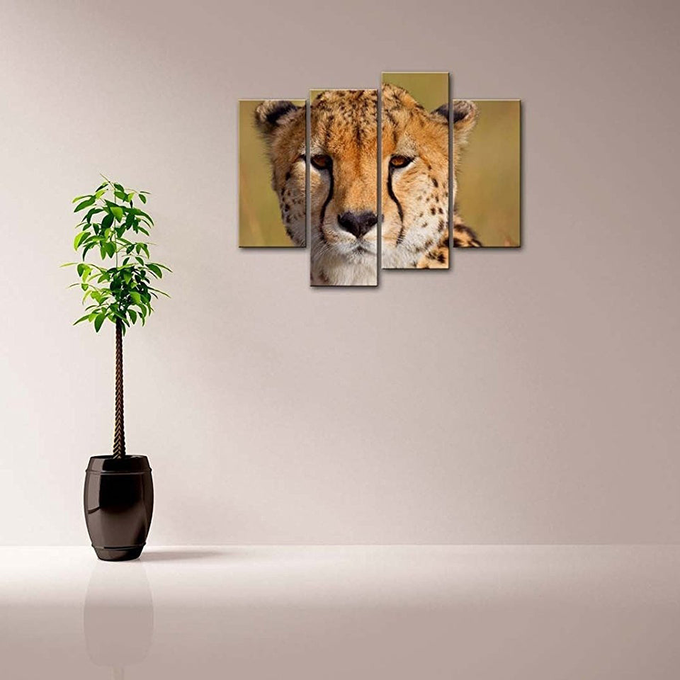 Cheetah Head Four Piece Canvas