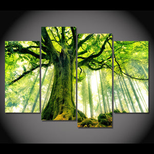 Green Tree Forest Four Piece Canvas