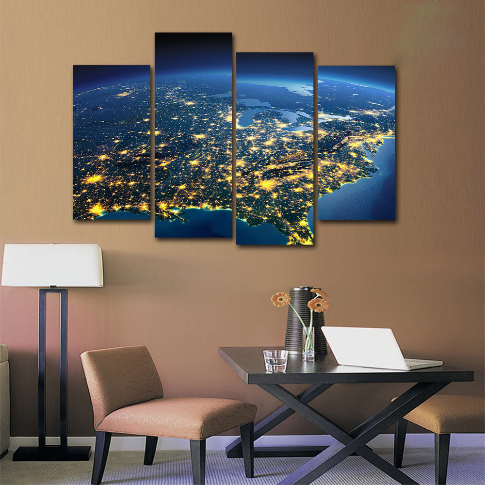 North America Space View Four Piece Canvas