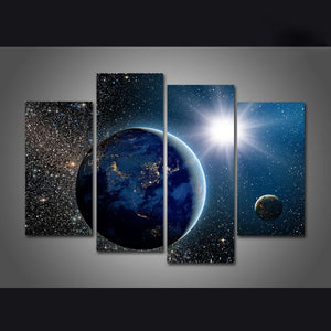 Star Shining Down On Earth Four Piece Canvas