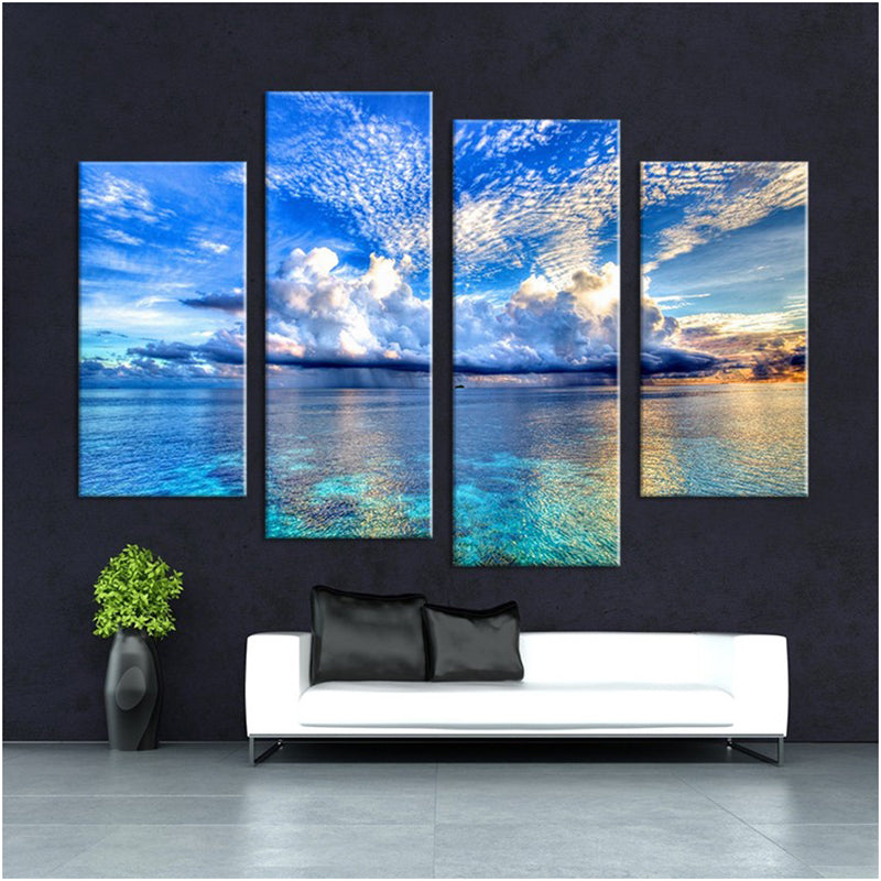Cloudy Sky Ocean View Four Piece Canvas