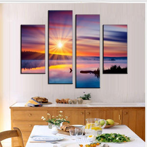 Pink Sky At Night Ocean View Four Piece Canvas