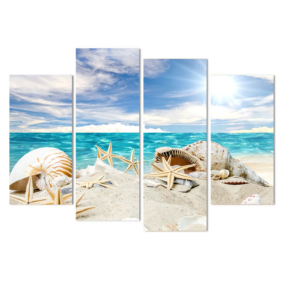 Sandy Beach With Starfish Shells Four Piece Canvas