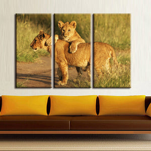 Lion With Its Cub Three Piece Canvas