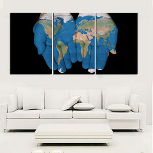 World In Your Hands Three Piece Canvas