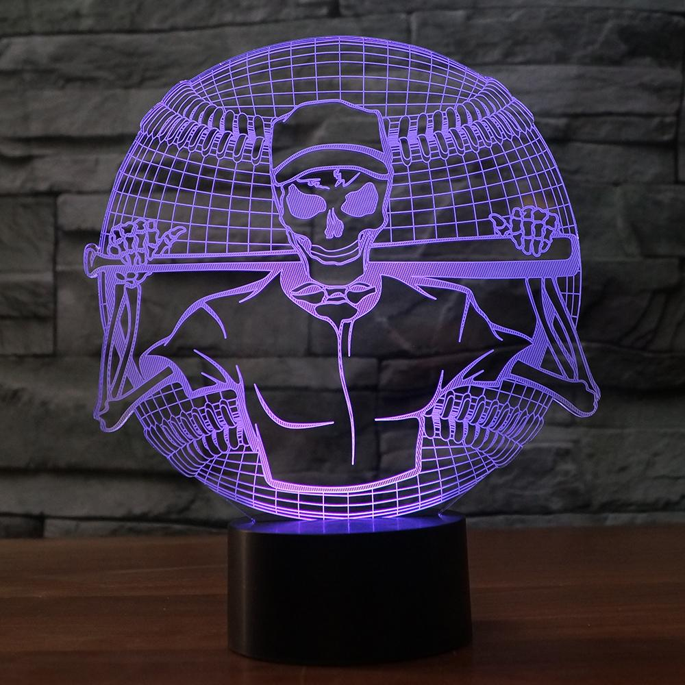 LED Skeleton Baseball Player Lamp