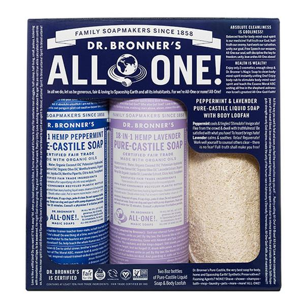 Dr. Bronner's Magic Soaps Peppermint & Lavender Loofah Gift Set