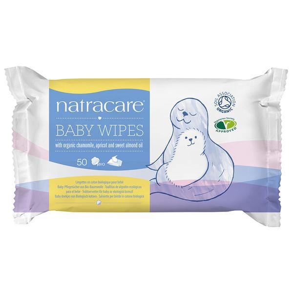 Natracare Baby Wipes with Organic Chamomile, Apricot and Sweet Almond oil, 50 Wipes