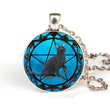 Black Cat Wiccan Pentagram Necklace with silver necklace