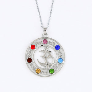 Reiki 7 Crystal Beads Chakra Pendant Necklace