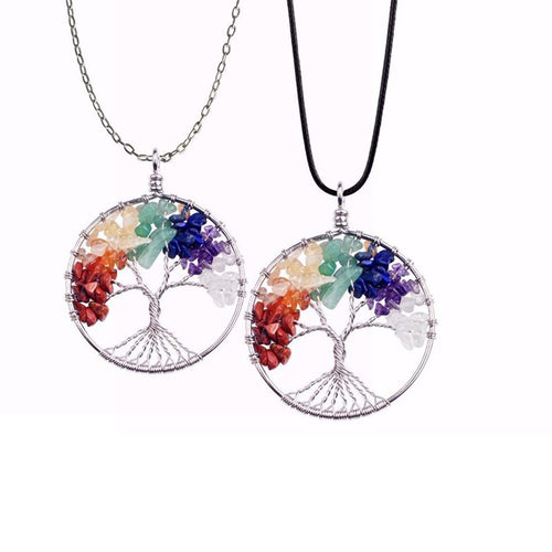 Chakra Stone Tree of Life Pendant Necklace