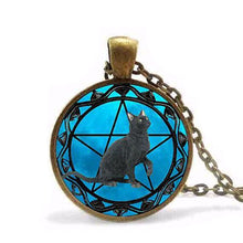 Black Cat Wiccan Pentagram Necklace with gold necklace