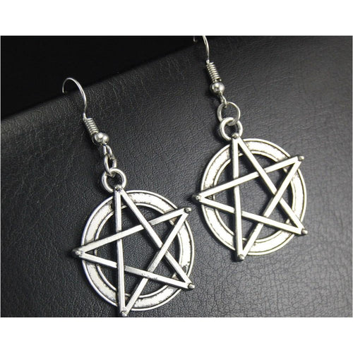 Silver Wicca Pentacle Dangle Drop Earrings