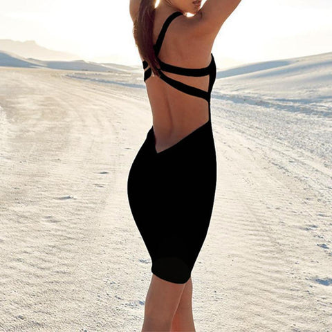 Sexy Backless black Bodycon Dress
