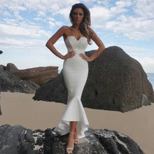 Mia White Strapless Mermaid Bodycon Maxi Dress Evening Dress - kissmissdresses