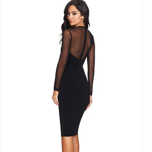Long Mesh Sleeve Cut out Celebrity Bandage Party Dress