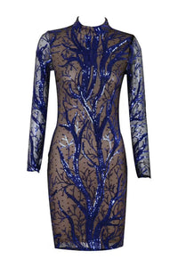 Jennifer Lopez Long Sleeve Blue Mesh Celebrity Bodycon Dress - kissmissdresses