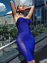 Sheer Cutout Detail Blue Strapless Bandage Dress - Kissmiss Ireland