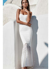 Spaghetti Straps Lovely Lace Bodycon Mermaid Maxi Dress Evening Dress - kissmissdresses