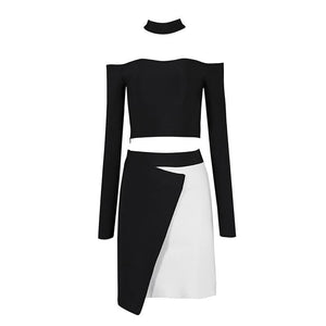 Long Sleeve Halter Neck Cutout Collar Crop Top - Kissmiss Ireland