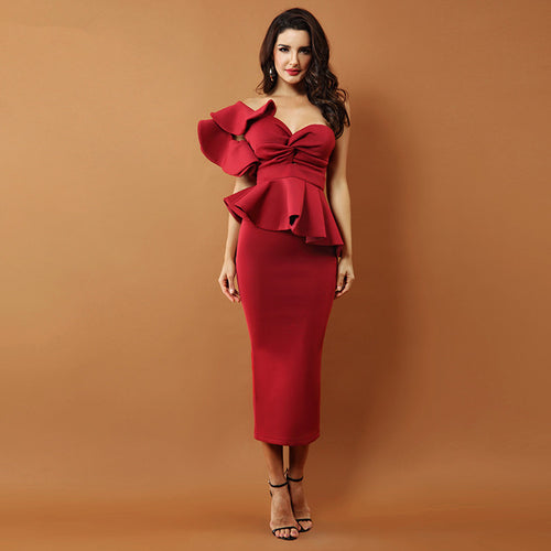 Elegant One Shoulder Ruffle Flounces Bodycon Dress - kissmissdresses