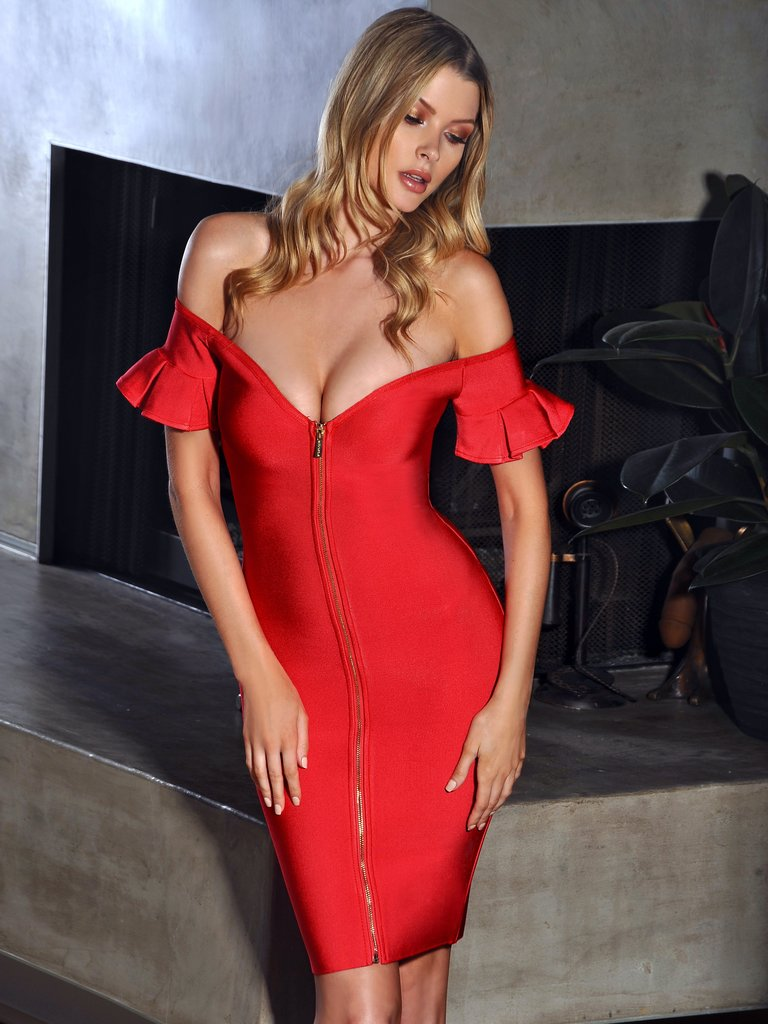 Red Off Shoulder Flared Sleeve Front Zip Bandage Club Dress - kissmissdresses