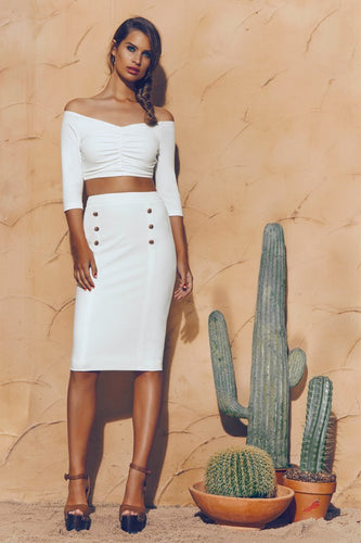 White Off The Shoulder Crop Top Button Bodycon Two Piece Sets